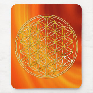 Flower of the life/gold big waves fire talk BG Mouse Pad