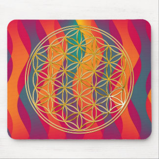 Flower of the life/gold | coloured waves mouse pad