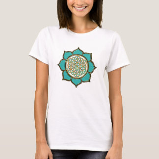 Flower of the life Lotus - turquoise T-Shirt