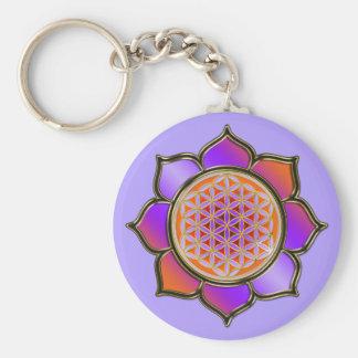 Flower of the life Lotus - violet orange/violet Basic Round Button Key Ring