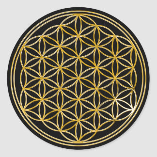 Flower of the life | small black BG Classic Round Sticker