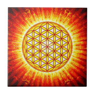 Flower of the life - sun III Small Square Tile