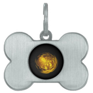 Flower of yellow in globe pet name tag