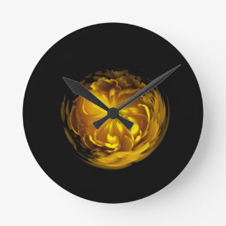 Flower of yellow in globe round clock