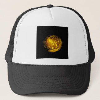Flower of yellow in globe trucker hat