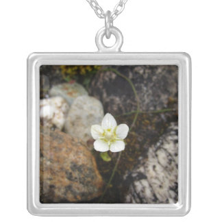 Flower on a Rocky Beach Square Pendant Necklace