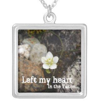 Flower on a Rocky Beach; Yukon Territory Souvenir Square Pendant Necklace