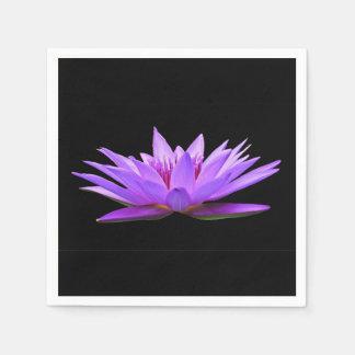 Flower On Black Paper Serviettes