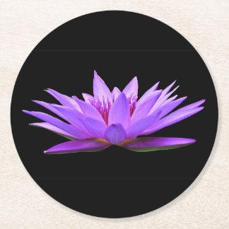 Flower on Black Round Paper Coaster