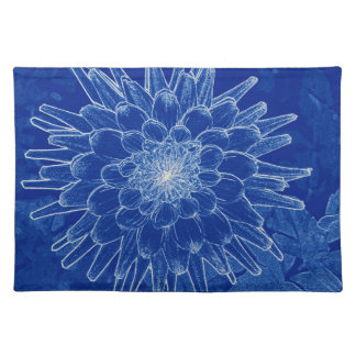 flower on blue placemat