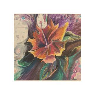 Flower on Wood Wood Print