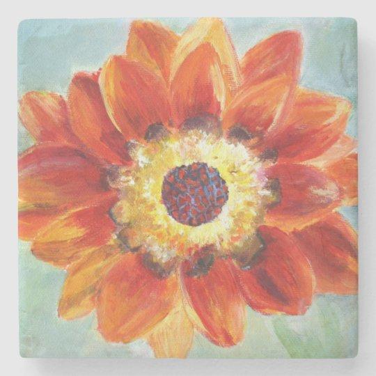 Flower orange Art Painting Marble Stone Coaster