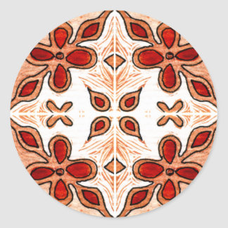 Flower Orange Inspired by Portuguese Azulejos Classic Round Sticker