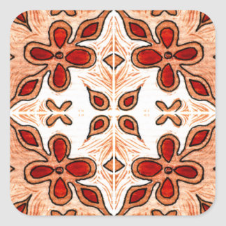Flower Orange Inspired by Portuguese Azulejos Square Sticker