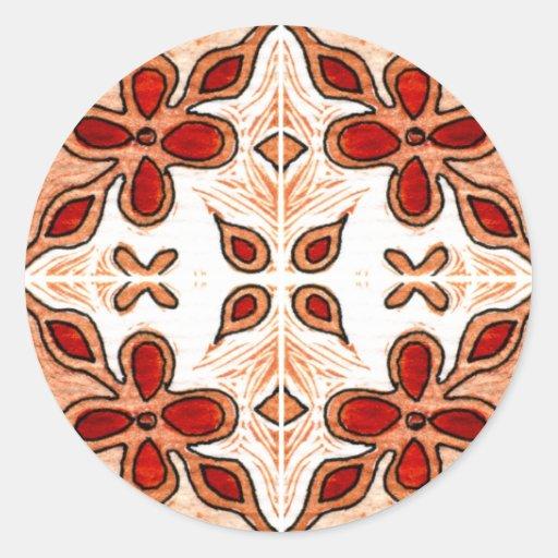 Flower Orange Inspired by Portuguese Azulejos Round Sticker