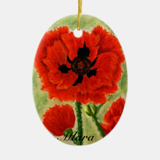 Flower ornament with red popies