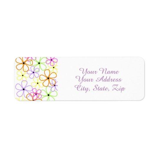 Flower Outlines Return Address Label