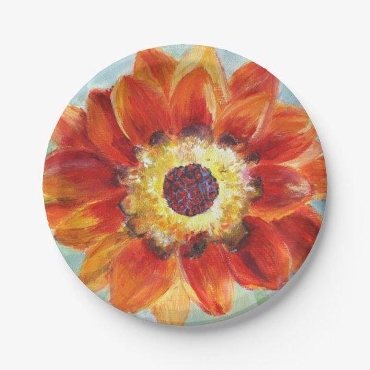 Flower Painting  Wings Custom Paper Plates 7 in
