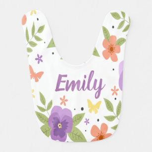 Flower Pansy Floral Butterfly Leaves Purple Yellow Bib