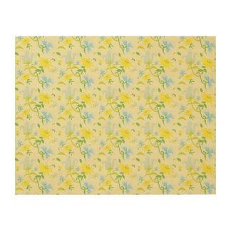 flower pattern 3 yellow wood print