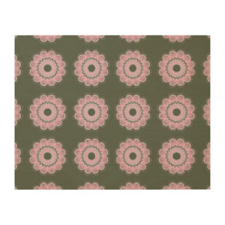 Flower Pattern Army Green Wood Canvases