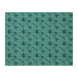 flower pattern blue wood canvas