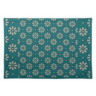 Flower Pattern, Cream, Dark Teal: Cloth Placemat