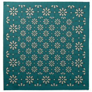 Flower Pattern, Cream, Dark Teal: Set of Napkins