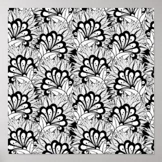 Flower Pattern Doodle 2 Poster