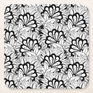 Flower Pattern Doodle Square Paper Coaster