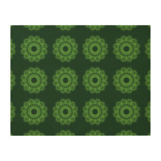 Flower Pattern Green Wood Canvases