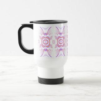 Flower Pattern in Orange and Purple. 15 Oz Stainless Steel Travel Mug