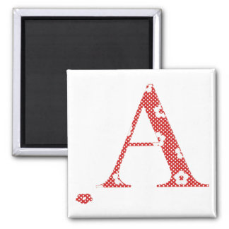 Flower Pattern Letter A (red) Square Magnet