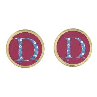 Flower Pattern Letter D(blue) Gold Finish Cufflinks
