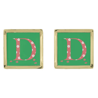 Flower Pattern Letter D(red) Gold Finish Cufflinks