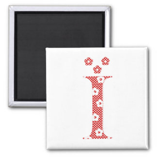 Flower Pattern Letter I (red) Magnet