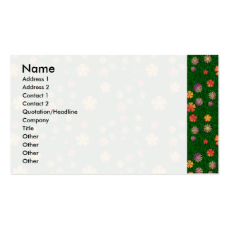 Flower pattern on green grass pack of standard business cards
