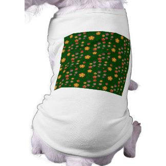 Flower pattern on green grass sleeveless dog shirt