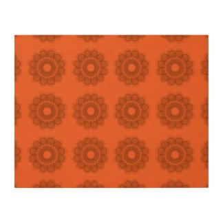 Flower Pattern Oranges Wood Canvases