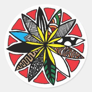 Flower Pattern Round Sticker