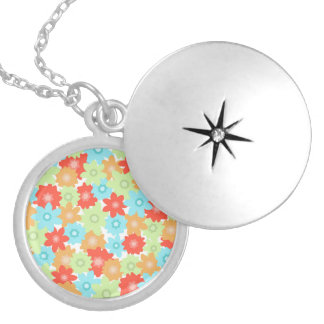 FLOWER PATTERN SILVER PLATED NECKLACE