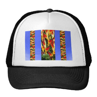 Flower Pattern Strips from  Blue Oil painted wall Mesh Hats