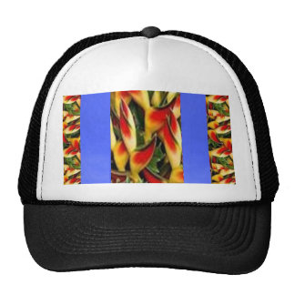 Flower Pattern Strips from  Blue Oil painted wall Mesh Hat