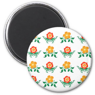 Flower Pattern: Vector Drawing: 6 Cm Round Magnet