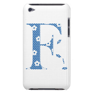 flower Patterned Letter F(blue & dots) iPod Touch Cover
