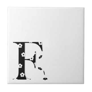 flower Patterned Letter F Small Square Tile