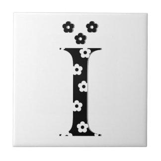 flower Patterned Letter I Tile