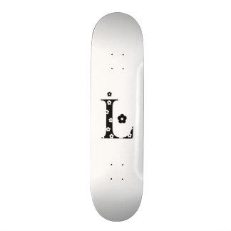 flower Patterned Letter L 18.1 Cm Old School Skateboard Deck