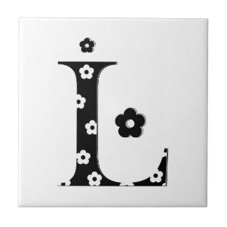flower Patterned Letter L Tile