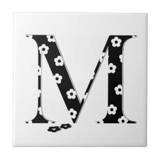 flower Patterned Letter M Tile